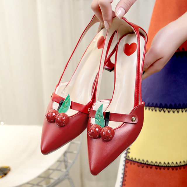 Lucyever 2017 New Brand Luxury Women Cherry Pointed Toe Party Pumps Sexy Cut Out Shallow High Heels Summer Sandals Shoes Woman