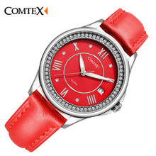 Comtex Girl's Watch Casual Alloy Case Blue-w Leather Strap Shell Dial Face Analog Display Quartz Waterproof Calendar Butterfly
