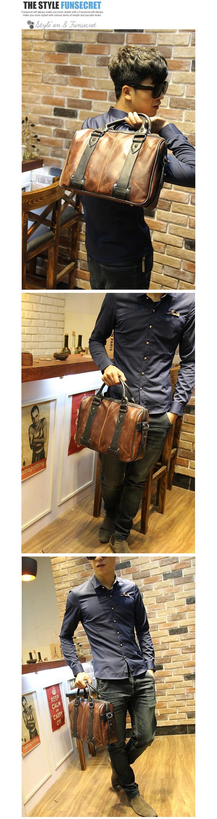 High Quality leather men handbag