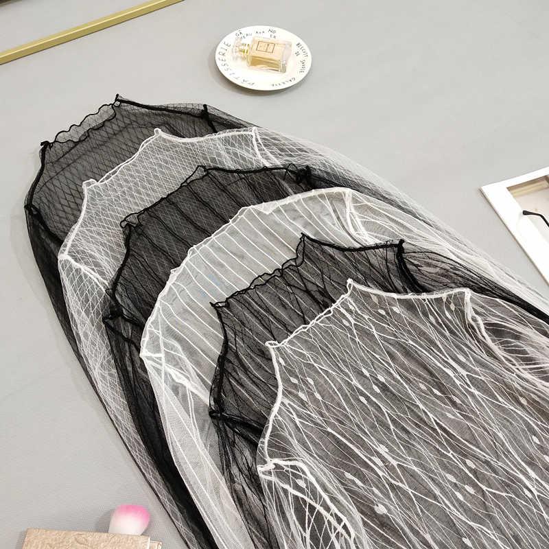 Caliente Otoño Invierno mujeres blusas de encaje camisa Base mujeres blusas Sexy de malla transparente de manga larga blusa a rayas negras