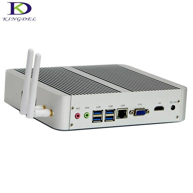 Kingdel Новое поступление Intel i3 7100U безвентиляторный мини ПК Windows 10 Linux настольный компьютер 4K HTPC HDMI VGA max 16G RAM без шума