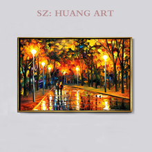 High Skills Artist Handmade Quality Abstract Landscape Oil Painting on Canvas Bright Colorful Colour Street