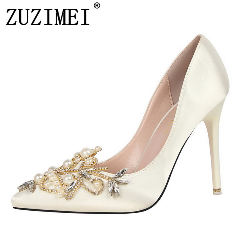 Pumps Brand Women s Crystal Pumps Pearl Applique Pointed Toe Stiletto Thin  Heel High Heels Wedding Shoes Woman Heels 34 39 eur-in Women s Pumps from  Shoes ... 84bf4d353cad