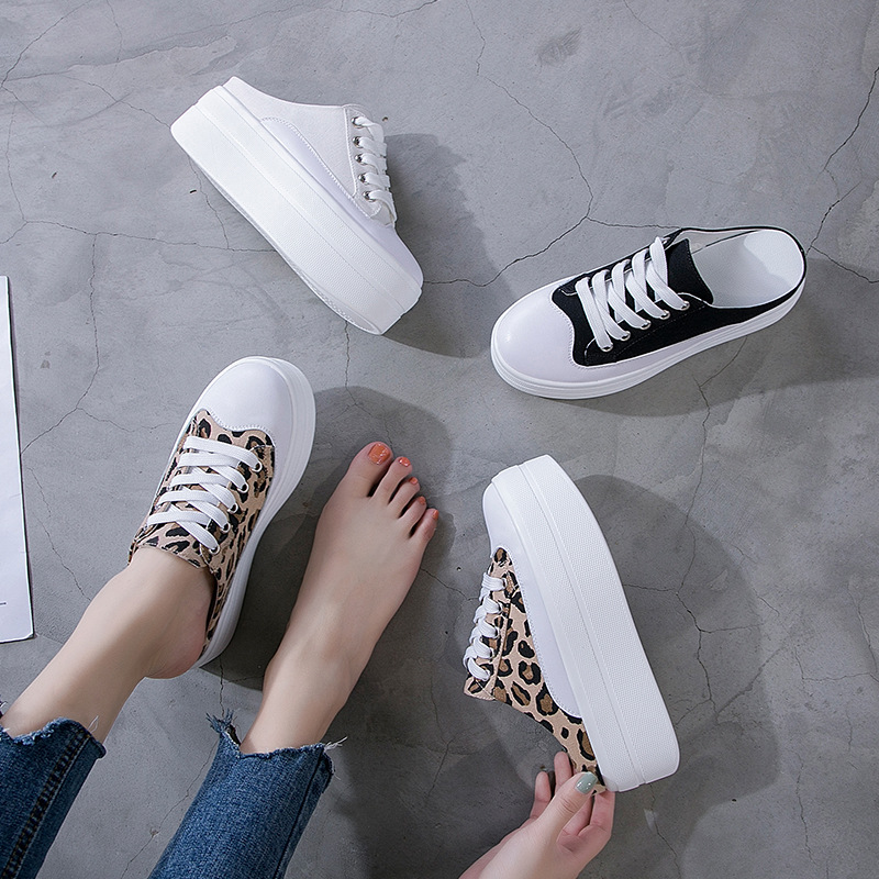 Women Slippers Leopard Print Wedge Canvas Casual Shoes Height Increasing Flat Platform Women Shoes Breathable Sneakers B101