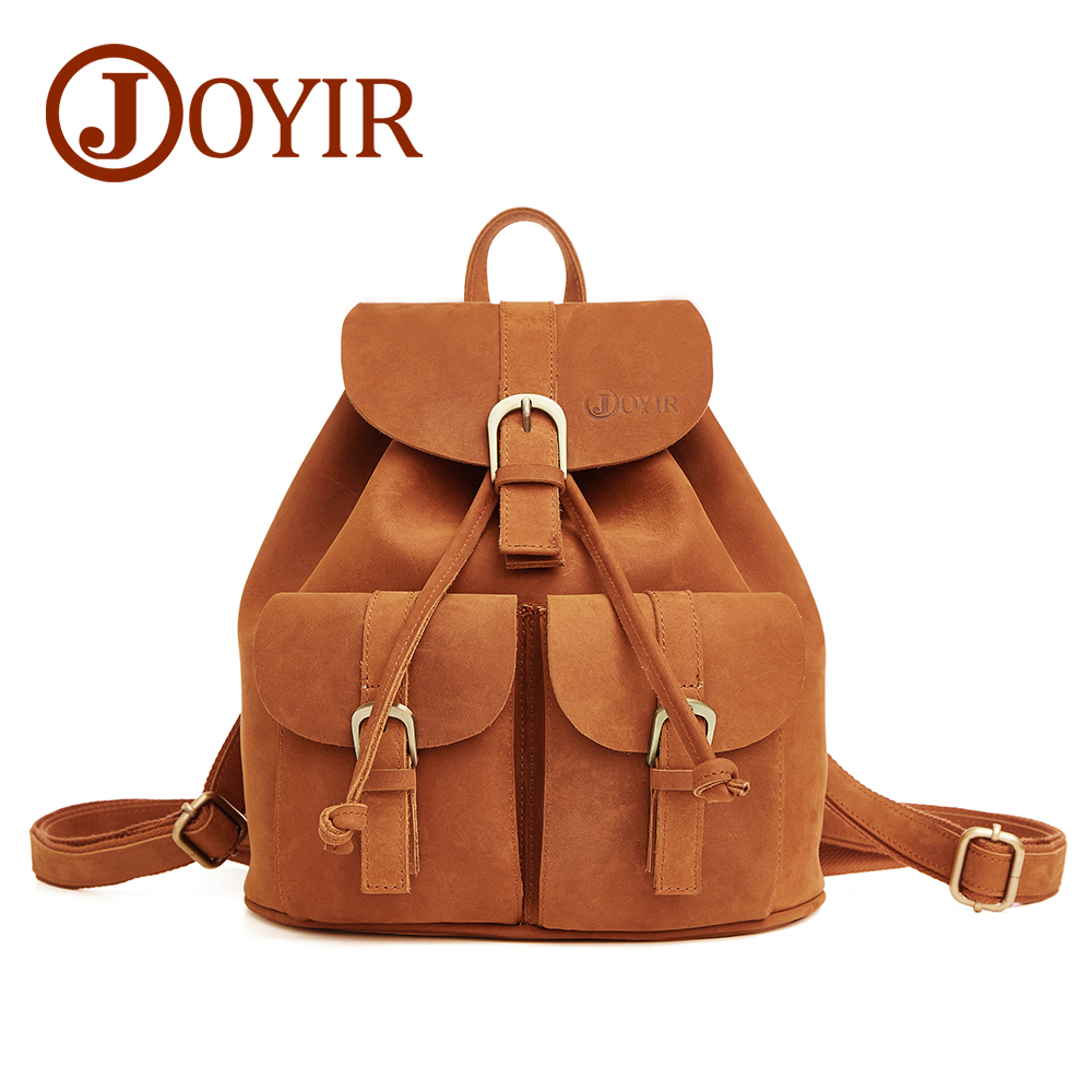 JOYIR Women Backpack Genuine Leather Vintage Brown School Girl Shoulder Bag Backpacks Female Leather Ladies Shopping Travel Bags high quality genuine leather women backpacks female embossed flower backpack school bag vintage coffee ladies travel bags l0244