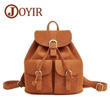 JOYIR Fashion Genuine Leather women backpack vintage brown school girl shoulder bag backpacks ladies shopping travel bags 8627