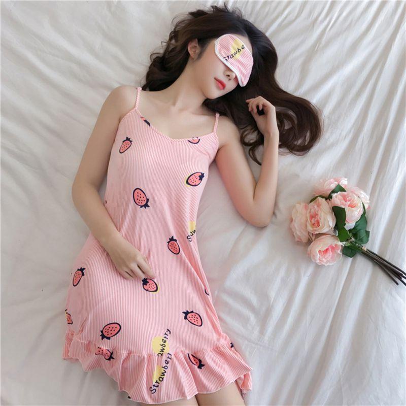 Extra Gift Eyemask Women Sleep Wear Night Dress Lingerie Halter Plus Size Spaghetti Strap Nightdress Cute Nighties For Lady W1