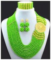 2017 Yeşil Bildirimi Kolye Nijeryalı Düğün Afrika Boncuk Takı Seti Kostüm Jewellry Setleri Altın renk Ücretsiz Kargo