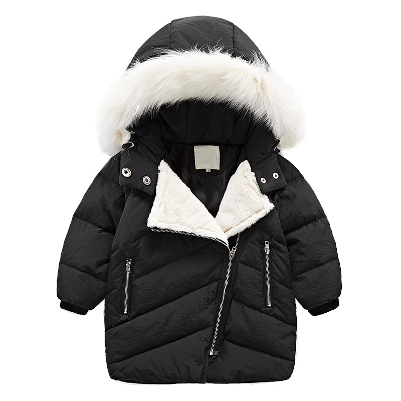 New Fashion Warm Girl Winter Clothes Candy Color Jacket Children Clothing Windbreaker Jackets Fur Collar Casual Hooded Coat plus size winter women cotton coat new fashion hooded fur collar flocking thicker jackets loose fat mm warm outerwear okxgnz 800