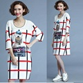 New 2016 Summer Women Mesh patchwork dog printed plaid shift Dress half sleeve Loose fit Plus Size Casual Vestidos L-4XL 100220