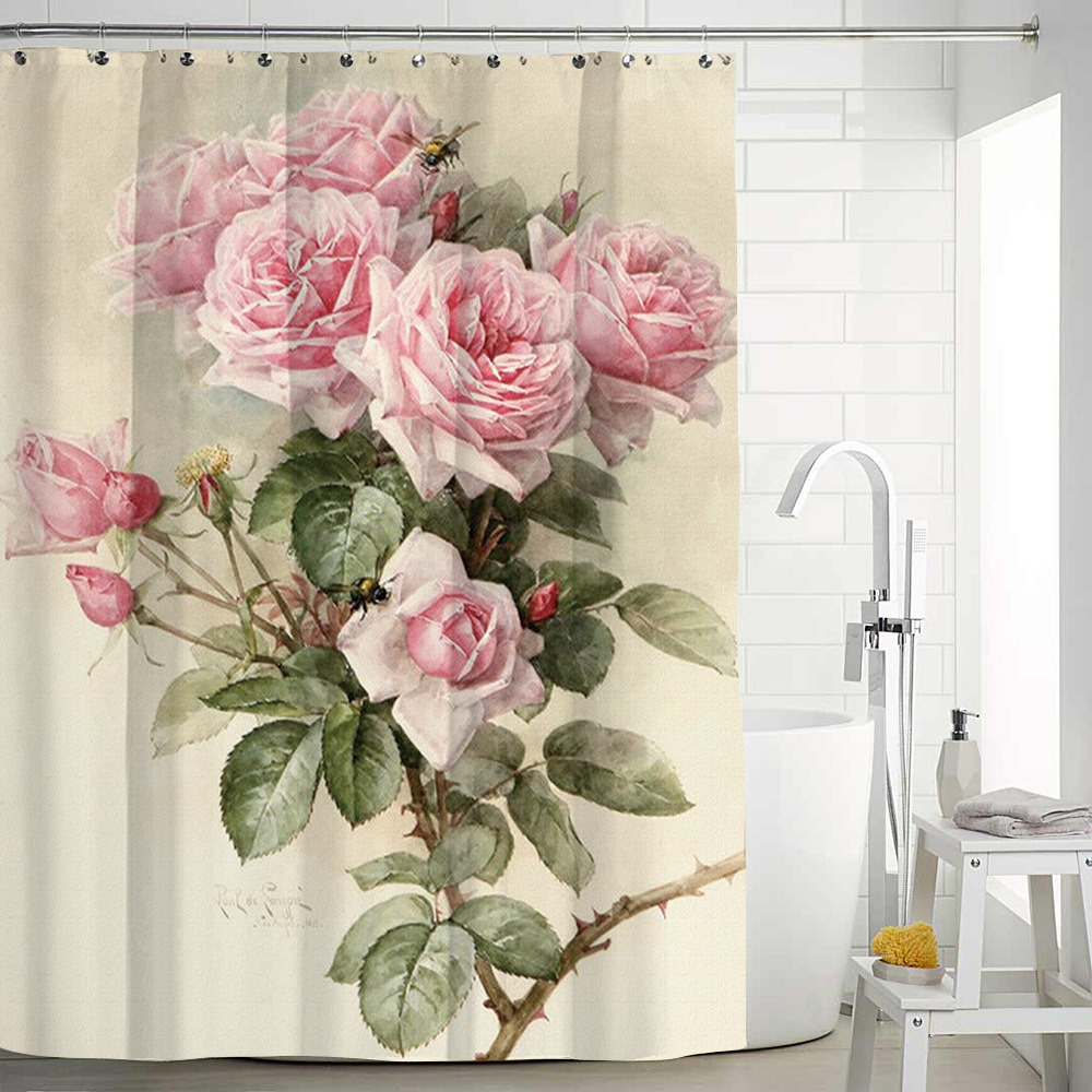 Flower Painting Printed Mildew Proof Polyester Shower Curtains Washable Waterproof Shower Curtains For Bathroom Home Decor