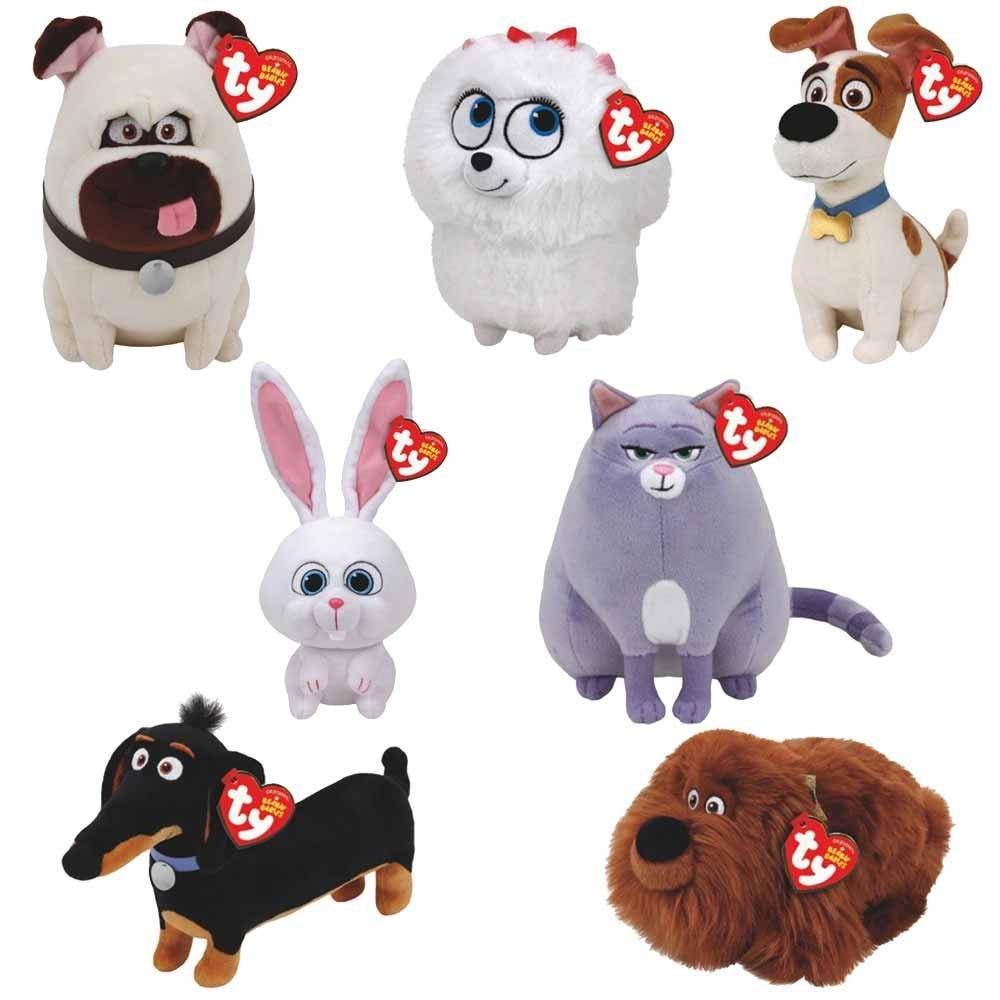 Set of 7 Pcs-20cm 7.87inch-TY Cute Beanie Boos Big Eyes Babies Plush -  Secret Life of Pets Movie Soft Plush Toys Stuffed Cat Dog 46f5d702000