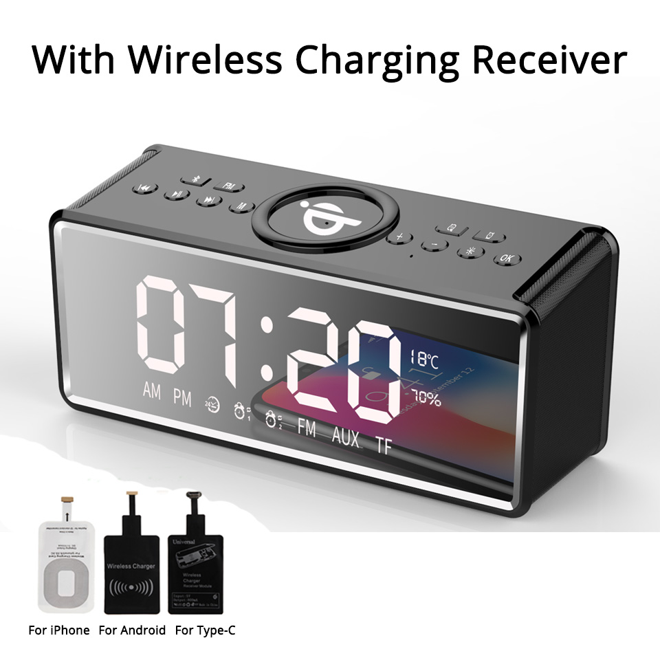 все цены на Alarm Clock QI Wireless Charging Bluetooth Speaker Wireless Speaker for Phones BT Portable Speakers with Microphone Loudspeaker