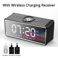 Alarm Clock QI Wireless Charging Bluetooth Speaker Wireless Speaker for Phones BT Portable Speakers with Microphone Loudspeaker