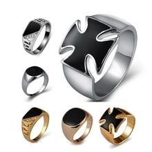 Ajojewel Tamaño 7-12 oro clásico-color de diamantes de imitación anillo de los hombres de esmalte negro hombre anillos de dedo de mejor venta