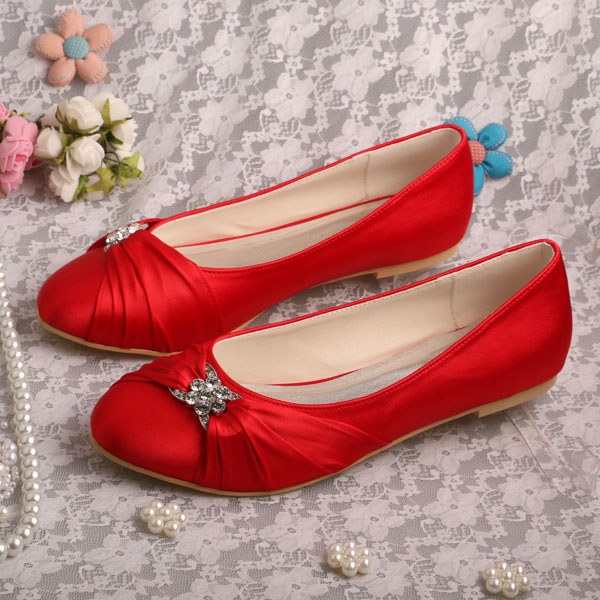 ФОТО Wedopus Shoes Woman Flats Red Satin Bride Shoes Plus Size 9 Dropshipping