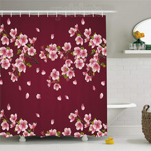 Maroon Shower Curtain Japanese Sakura Tree Branches In Full Blossom Scattered Petals Asian Spring Fabric Bathroom