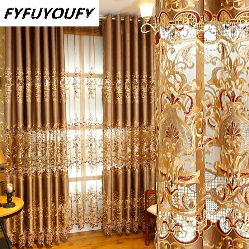 Chenille Jacquard European luxury classic embroidery shade decorative curtains for Living Room/Bedroom curtains