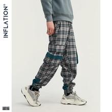 INFLATION Streetwear Men Plaid Jogger Pants  Joggers Casual Pants 2019 Man Hip Hop Pants Plus Size Jogger Casual Pants 93367W drawstring spliced camo jogger pants