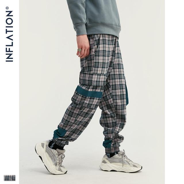 INFLATION Streetwear Men Plaid Jogger Pants  Joggers Casual Pants 2020 Man Hip Hop Pants Plus Size Jogger Casual Pants 93367W