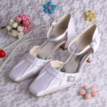 Свадебная Обувь Низком Каблуке Квадратный Каблук Туфли Невесты White Satin Площади Toe Dropship