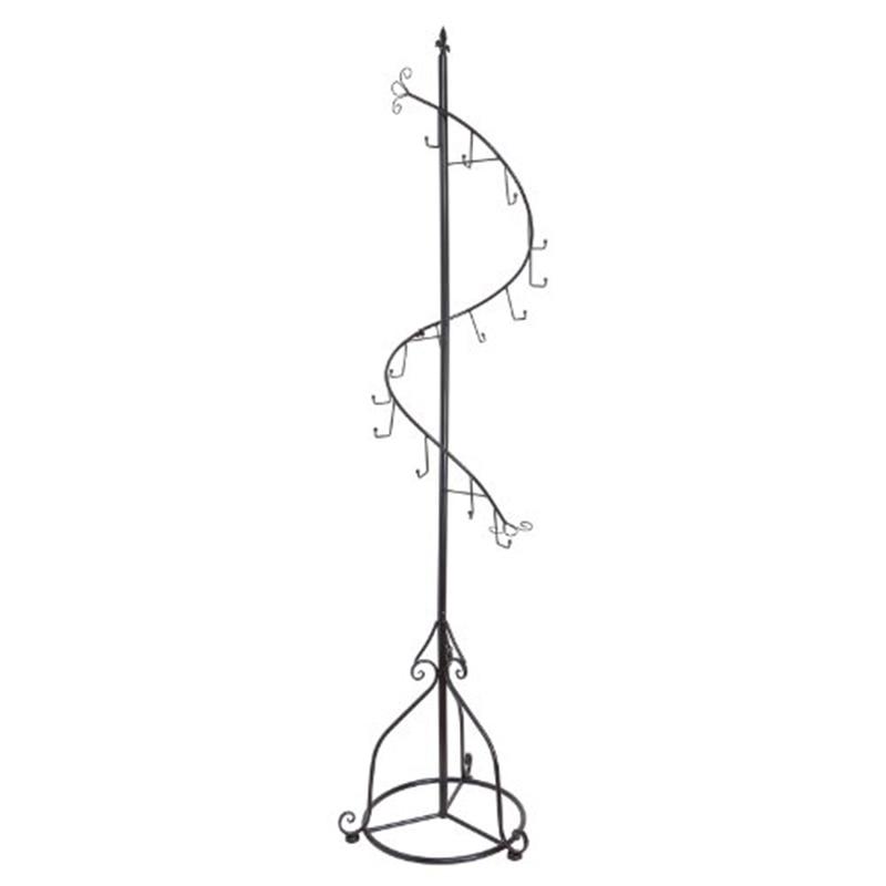 Elegant Black Metal 14 Hook Spiral Coat Hanger / Bag Display / Garment Rack Stand double hooks curved hook light hanging bags adjustable handbag rack display silk scarves bag hook wig hanger bag holder rack
