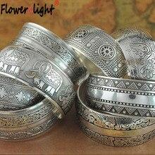 Gypsy Ethnic Square Flower Metal Carved Wide Bangles Tibetan Silver Vintage Retro Tribal Fashion Bracelet Bangle Cuff For Women