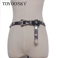Luxury cool tide Women Gothic Punk Sweet Rock Belt with Metal Stars Accessory Rivet Waist Belts Sliver Buckle Ins Style TOYOOSKY