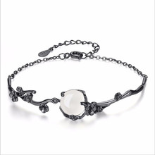 LUKENI New Fashion 925 Silver Bracelets For Women Jewelry Charm Gun Black Crystal Flower Girl Accessories Lovers Gift