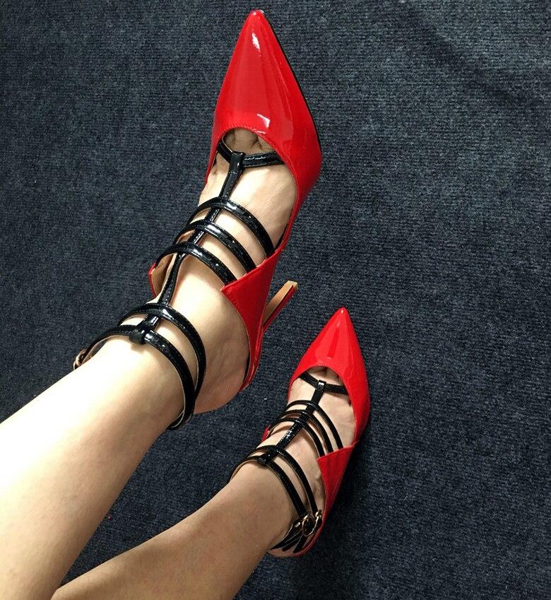 T Chaussures Verni Qianruiti sangle Cheville Boucle Sexy Femmes En white Talons Haute Aiguilles Red Pointu Bout Pompes Cuir Sandales 8rdrA