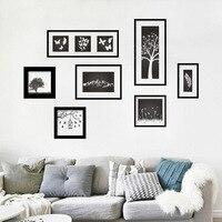 7 Teile Satz Knstlerische Klassische Wandaufkleber Aufkleber Dekorative Vinyl Wand Rahmen Wandbilder Fr Wohnzimmer Schwarz