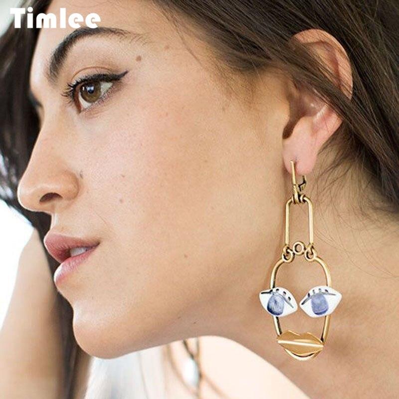 Timlee E214 New Retro Personality Wine Bottle Face Outline Metal Drop Earrings Temperamental Jewelry Wholesale