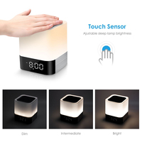 Touch Sensor Bedside Lamp/MP3 Music Player Alarm Clock LED Alarm Clock with Night Light Bluetooth Speakers,All in 1