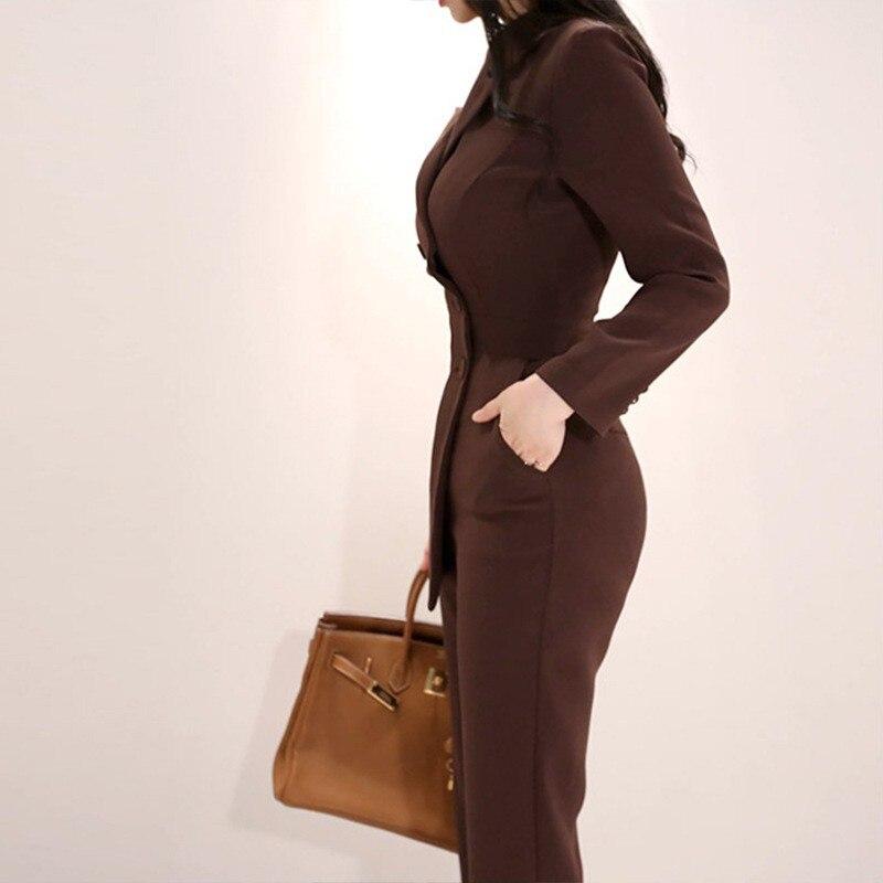 Formelle Pantalon Slim Costume Femmes Blazer haut Une Costumes Brown Pièce Travail Dames Croisé Combinaison Fit Double Nouveau Bureau D'affaires PnTBwqOTp