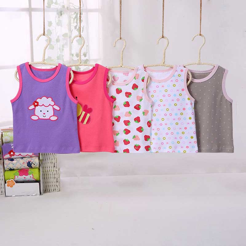Nowy 5 sztuk / partia Niemowląt Bawełna Kamizelka Koszula Letnie - Odzież dla niemowląt - Zdjęcie 2