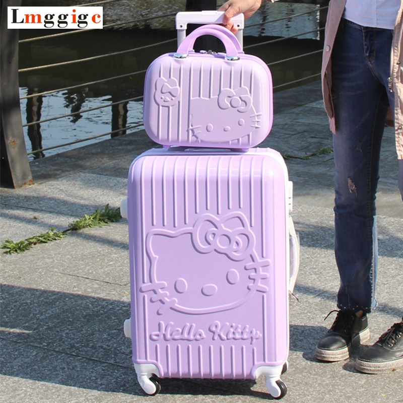 цена на Hello Kitty RollingLuggage bag ,Women Travel Suitcase,ABS Cartoon Box,Fashion Carry On,Kids Hardcase Trolley Case,Child Gift