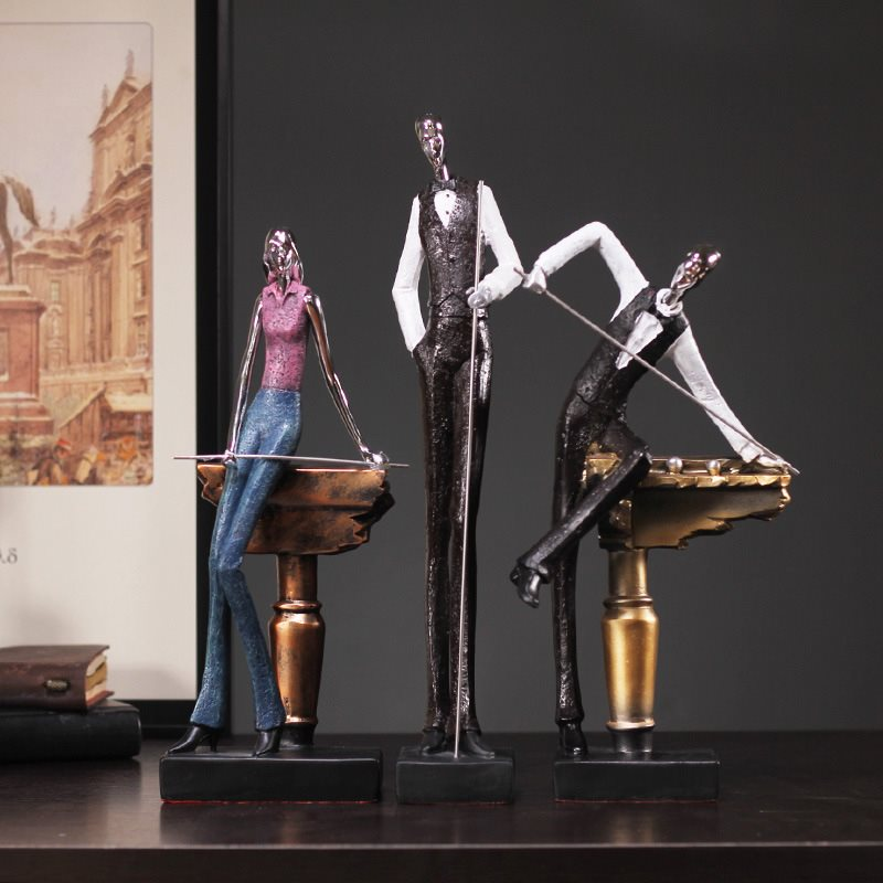 Resin Crafts Home Decoration Accessories Statue&Sculpture Simple Modern Creative Billiards Sports Figures Resin Crafts Ornaments-in Statues & Sculptures from Home & Garden    1