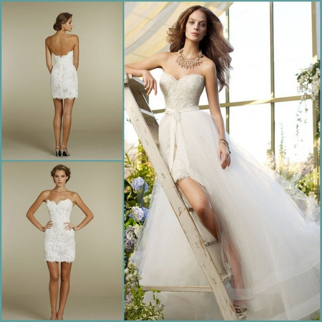 Custom Made Sweetheart Two Piece Design Lace Short Bridal Gown Detachable Train Tulle Beach Wedding Dresses
