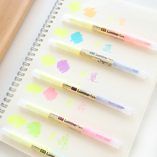 5 pcs/Lot Twin color Highlighter Marker pen Kawaii drawing tool Stationary papeleria Office material School supplies FB701