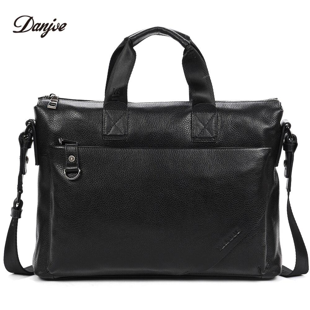 DANJUE Business Briefcase Men Genuine Leather Gentleman Brand Real Leather Handbag Men's Totes Laptop Shoulder Bag