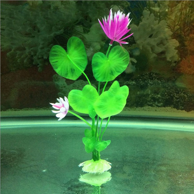 New Pretty Durable Purple Lotus Artificial Grass Aquarium Fish Tank Aquatic Simulation Ornament Decoration