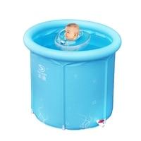 Portable Inflatable cotton bottom inner net warm keeping design Frame type tub 3 size option kids swimming pool baby bathtub