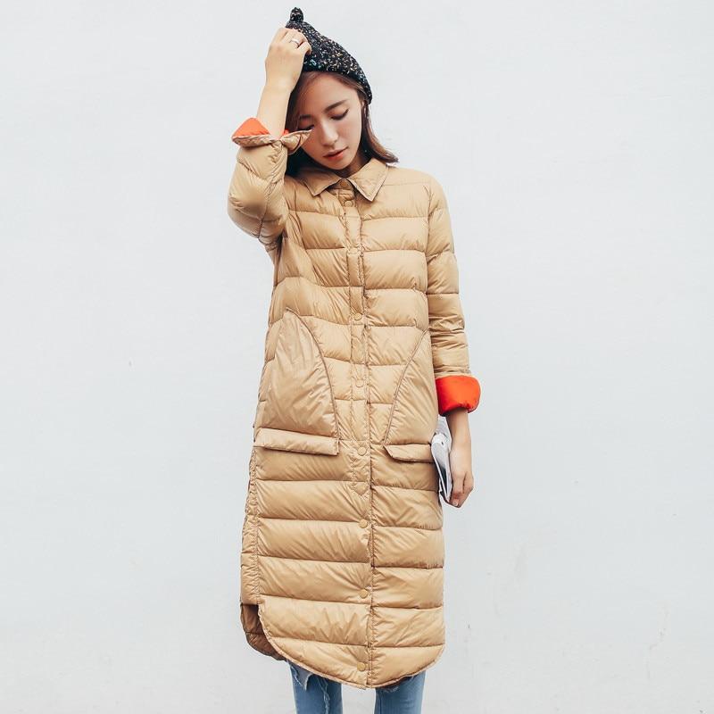 2018 New Autumn Winter Women Ultra Light Down Jacket Slim Thin Duck Down Coat Parka Female Long Coat Outerwears Plus Size AB1008