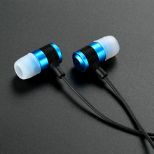 Fone de ouvido Hands-free Earphones 3.5mm Stereo Noise Cancelling Metal Sound Ear Phones with Mic for Mobile Phone MP3 Player