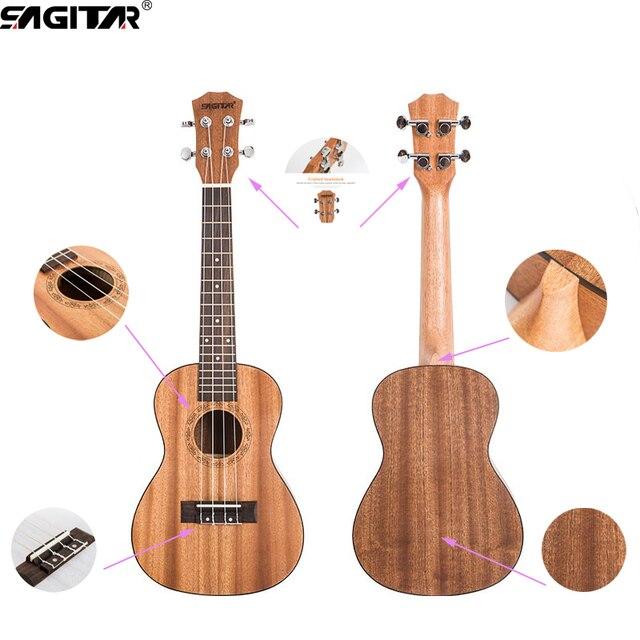 Бесплатные подарки 23 Дюймов 18 Лады Гавайская Гитара (Уке, акустическая Гавайская Гитара Sapele Ель Палисандр Гриф 4 Строк для начинающих