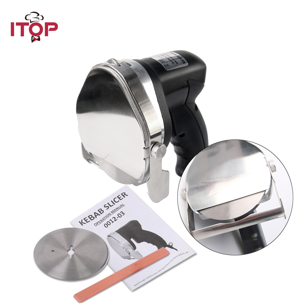 ITOP Electric Shawarma Cutter Slicer Knife Gyro Doner Kebab Slicer Meat Carver Machine Knife Blade itop automatic professional and comerical powerful electric doner kebab slicer for shawarma kebab knife gyros knife