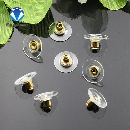 MINGXUAN 100pcs/lot Gold/Silver Plated round Copper Bullet head Earring Back stoppers earring Jewelry Findings & Components