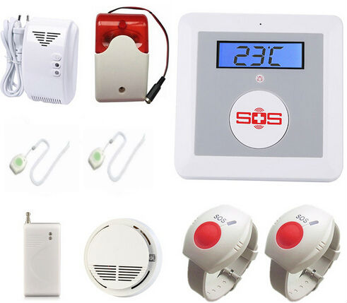 GSM Senior Telecare Wireless GSM SMS Home Security Alarm System with LCD Display SOS Call for Elderly Care mobile Phone Control