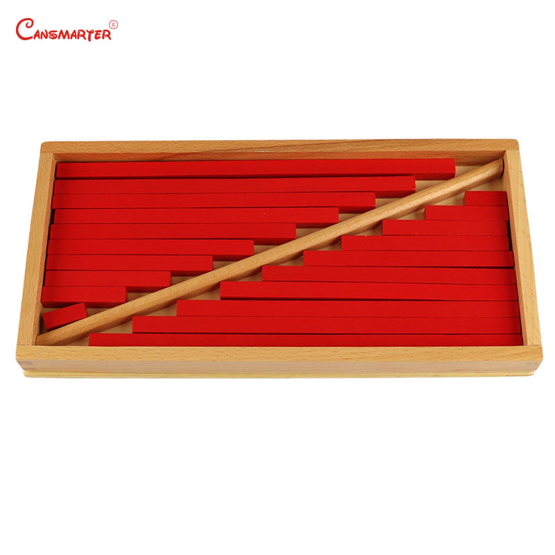 Montessori Math Toy Red Sticks Box Number Practices Children Education Teaching Aids Wooden Materials Brain Teaser Toy SE012-34