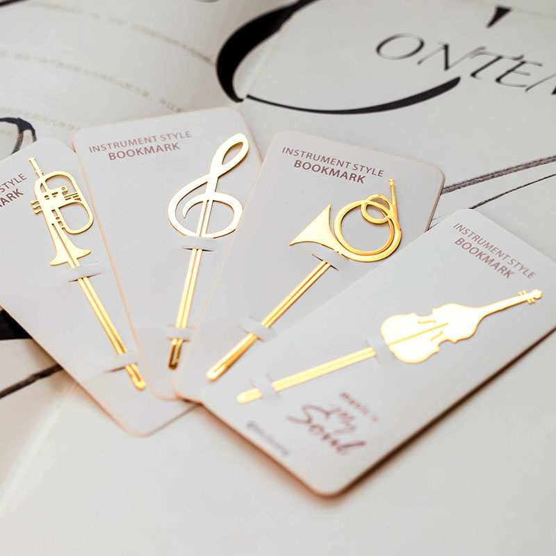 New Kawaii Cute Gold Musical Instruments Metal Book Markers Bookmark For Books Paper Clips Office School Supplies Stationery
